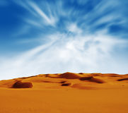 Sandy desert at sunrise time Royalty Free Stock Photos