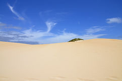 Sandy dune and blue sky royalty free stock photo