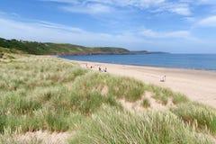 Sandy dunes behind Freshwater East beach Royalty Free Stock Photo