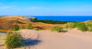 Sandy dunes during sunset. Curonian Spit, Lithuania Stock Photos