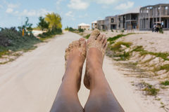 Sandy Feet in the Bahamas Royalty Free Stock Photography