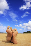Sandy feet on a beach Royalty Free Stock Image