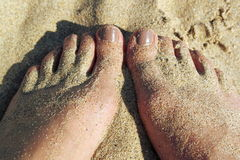 Sandy feet & toes Royalty Free Stock Photography