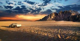 Sandy field in desert of Egypt Stock Photos