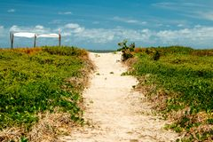 Sandy Foot Path to the Beach Known as the Coral Coast in the Northeast part of Brazil in the State of Alagoas stock photos