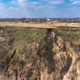 Sandy footstep from ravine to outskirts of Dnipro city, Ukraine royalty free stock image