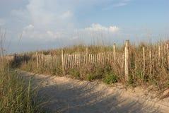 Sandy-Gehweg mit Grasschatten Lizenzfreies Stockfoto