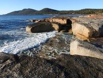 Sandy and Granite Coastline, Tasmania Royalty Free Stock Images