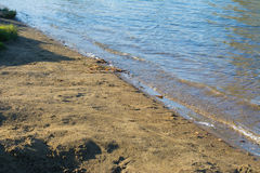 Sandy grassy shore of the lake Stock Image