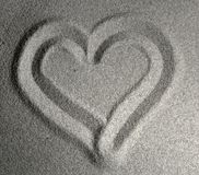 Sandy Heart I. Heart drawn in sand Royalty Free Stock Photos