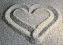 Sandy Heart II. Heart drawn in sand Royalty Free Stock Photography
