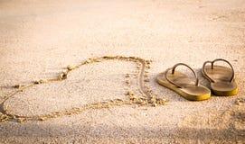 Sandy Heart och sandaler Miami royaltyfri bild