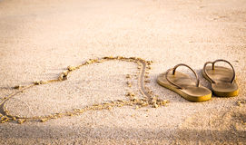 Sandy Heart and Sandals Miami Royalty Free Stock Image