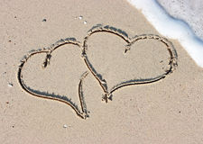 Sandy hearts Royalty Free Stock Image