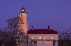 Sandy Hook lighthouse at Sunset Royalty Free Stock Photo