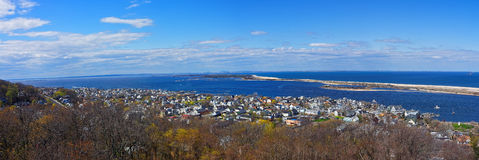 Sandy Hook, ocean and NYC panorama Stock Photos