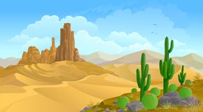 A sandy hot desert dunes in the middle of nowhere vector illustration