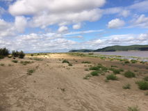 Sandy island. On the river Stock Photography