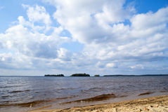 Sandy lake coastline Royalty Free Stock Image