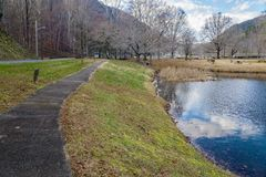 Walking Trail and Lake at Smith Mountain Dam Picnic Area royalty free stock photography