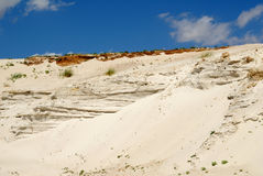 Sandy mountain from white sand Stock Photo