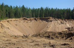 Sandy open-cast mine Royalty Free Stock Photos