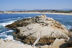 Sandy Pacific Ocean beach in Mexico Stock Photos