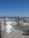 Sandy Path with Fence leading to Nantasket Beach in Hull, MA Royalty Free Stock Photo
