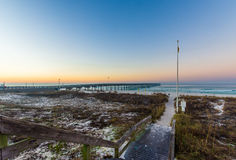 Sandy Path Leading to Panama City Beach, Florida at Sunrise Stock Photos