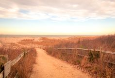 Sandy path leads to beach at Cape May meadows at sunrise on an early spring morning. Wooden fence outlines sandy path to beach at Cape May meadows at sunrise on stock photo