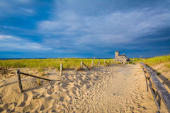Sandy path at Race Point, in the Province Lands at Cape Cod Nati. Onal Seashore, Massachusetts Royalty Free Stock Photography