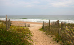 Sandy path to the beach. Sandy path leading to the beach bordered by fence and vegetation Stock Image