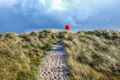 Sandy pathway running through grass sand dunes with a red life belt at the end of the pathway. In the centre a sandy pathway with lots of footprints runs through stock images