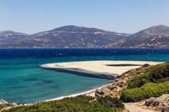 Sandy peninsula. Beach, Marmari, Greece stock images