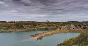 Sandy quarry filled with water. Time-lapse stock footage
