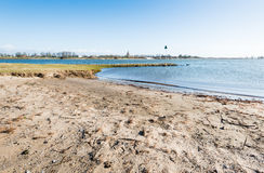 Sandy river beach in the Netherlands Stock Photo