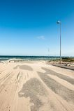 Sandy Road. A road covered with sand in Hirtshals, Denmark Stock Images