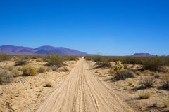 Sandy Road in de Mojave-Woestijn Royalty-vrije Stock Fotografie