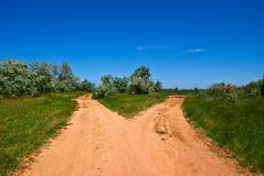 Sandy road on a steppe Royalty Free Stock Images