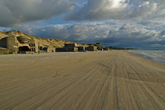 Tire tracks on danish beach Royalty Free Stock Photo