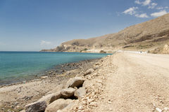 Sandy route - Van Lake. Sandy route on the coast of Van Lake in Turkey Royalty Free Stock Photos