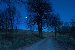 Sandy rural road at night Stock Photography