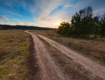 Sandy rural road and sunset on field. Stock Image