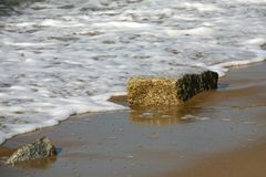 Sandy sea shore on which there are two stones Royalty Free Stock Image