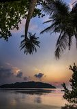 Ocean seashore with palm at sunrise in Phangan island Stock Photography