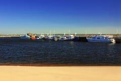 Sandy shore near the river port Stock Image