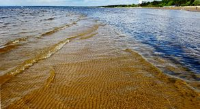 Shallow water and sandy beach. Sandy shore and shallow clear water in a sunny day with gentle tide waves Stock Images