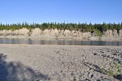 Sandy shores of the Ural river Lemva. Royalty Free Stock Images