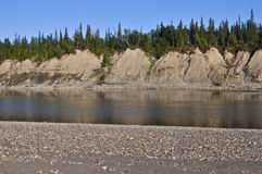 Sandy shores of the Ural river Lemva. Stock Photography