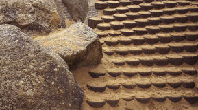 Sandy stairs. Stairs covered with yellow sand royalty free stock image